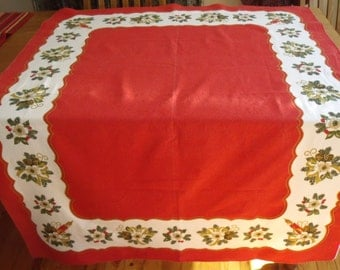 Christmas Tablecloth  62x48 in. Red with Mistletoe White Border Candles Pinecones