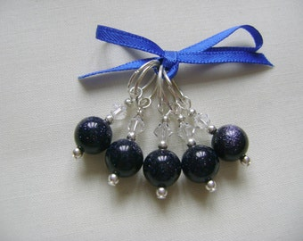 Midnight Goldstone Stitch Markers for Knitting or Crochet
