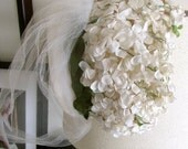 SALE 20% OFF NON-Linens Vintage Floral Headpiece White Flowers Headband Hat Bridal Veil Garden Wedding