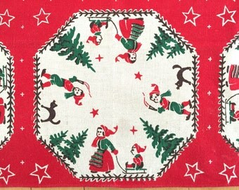 Vintage SWEDISH Christmas Tablecloth Elves Kittens Sled Evergreen Trees Square