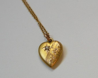 Antique 10K Child or Baby's Heart Pendant with Chain, 10K Seed Pearl Heart, Antique Gold Heart Necklace (#2915)