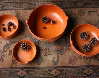 Set of 4 Mexican Bowls With Rustic Glaze  Stack Together Bohemian Decor From Nowvintage on Etsy