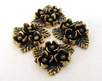 Vintage Plastic Cabochon Flower Bouquet Antiqued Black Gold Triangle Japan 21x17mm pcb0323 (4)