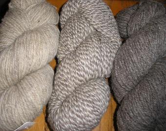 3 Shades of Maine Fisherman Wool Yarn in Natural Shades   SALE