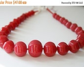 SALE Cherry Red Chunky Beaded Necklace