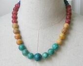 SALE Color Block Beaded Graduated Multi Color Necklace