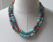 SALE Turquoise Multi Color Stone Double Strand  Beaded Necklace