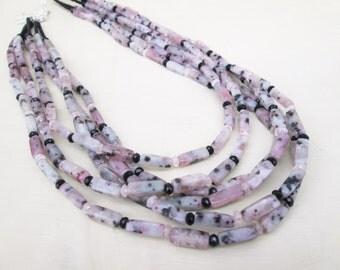 Pale Pink Black Kiwi Jasper Multi Strand Beaded Layered Necklace, Rose Quartz