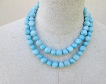 Sky Blue Larimar Quartz Double Strand Beaded Necklace