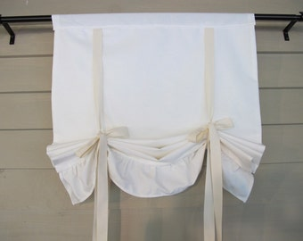 Ruffled Off White Canvas 36 Inch Long Tie Up Shade Custom Made to Order Modern Farmhouse Tie Up Curtain Swag Balloon
