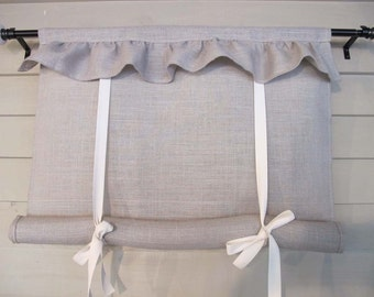 Ruffled Burlap Canvas 60 Inch Long Tie Up Shade Custom Made to Order Tie Up Curtain Swag Balloon Modern Farmhouse Simplicity Simple