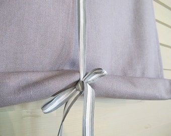 Gray Linen 36 Inch Long Stage Coach Blind Swedish Roll Up Shade Tie Up Curtain Swag Balloon