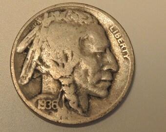 Collectable 1936D Buffalo Nickel - Vintage Nickel -