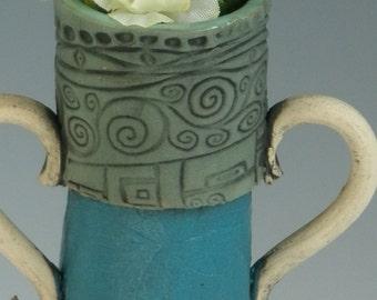 VASE, Clay Vase, Turquoise Vase, FLOWER VASE, Stamped Vase, Pottery Vase, Ceramic Vase, Porcelain Vase, Bud Vase
