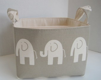 Ex-Large Ele the Elephant, Taupe and Ivory Divided Fabric Basket
