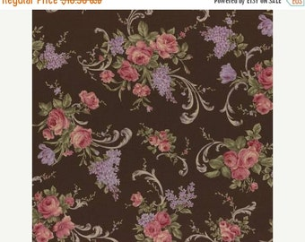 SALE Lecien Antique Roses Spring 2015 Roses and lilac sprays on brown print 31149L-80 1 yard
