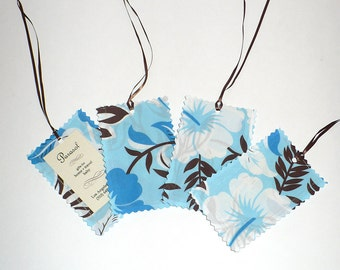 Luggage Tags, Tropical, blue print, Island, Vacation, laminated fabric, Set of 4, SALE
