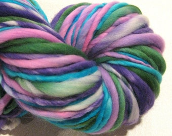 Handspun Yarn Knee Deep In Flowers 130 yards hand dyed merino wool green pink blue yarn waldorf doll hair knitting supplies crochet supplies