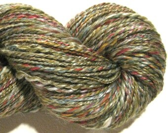 Handspun yarn Verdigris worsted weight 2 ply, 282 yards merino wool silk blend green yarn olive yarn knitting supplies crochet supplies