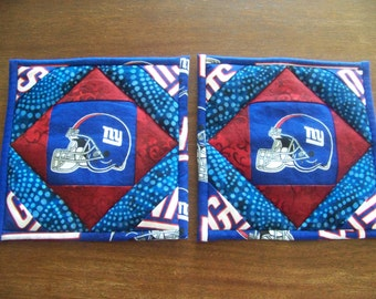 New York Giants - quilted potholders, pair
