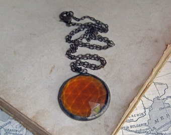 Amber Faceted Glass Necklace Soldered Jewelry