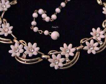 Vintage CORO White Flower and Rhinestone Necklace