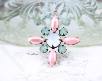 AB Pink Pacific Green Opal Blue Powder Vintage Stones Starburst Pendant Swarovski Crystal Brass Setting 30mm