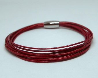 Red Wrap Leather Bracelet Multi Strands Leather Cuff Bracelet with Stainless Magnetic Clasp