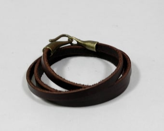 Brown Leather Wrap Bracelet Leather Cuff Bracelet with Bronze Hook Clasp