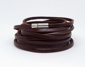 Multi Wrap Bracelet Leather Wrap Bracelet Leather Bracelet in Brown Color with Stainless Pin Clasp