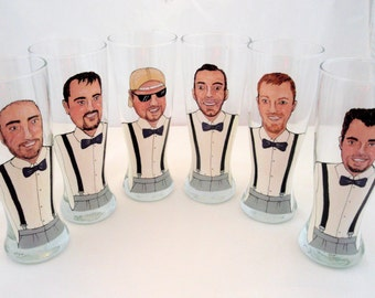 Personalized Painted Pilsner Beer Glasses (6) Six Custom Caricatures