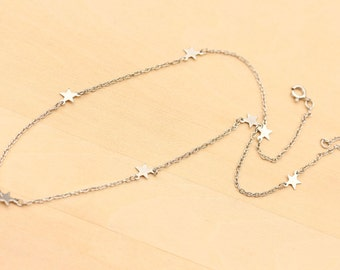 Silver Star Charm Necklace, Star Necklace, Silver Star Necklace