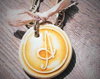 Wax Seal Monogram Pendant Necklace
