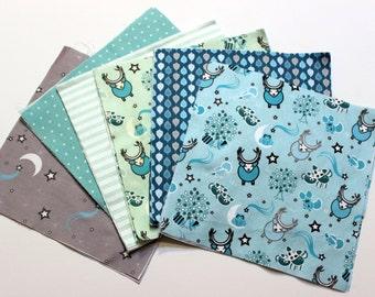 DIY Woodland Quilt Kit, Aqua,Mint,Gray,Blue, Soft,Organic, Baby, Blanket, Rag Quilt, Boy, Organic Sateen Cotton, Organic Flannel, ReadyToSew