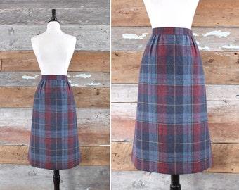 """plaid wool skirt / wool midi skirt / waist 30"""""""
