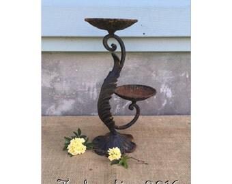Candle Holder - Candelabra - Cast Iron Candelabra - Pillar Candle Holder - Acanthus Leaf - CHIC