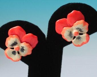 Enameled  Pansy Flower Earrings Bright Orange Vintage Clip On