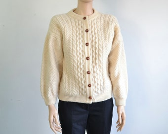 Vintage Fisherman's Wool Sweater Cable Knit Cardigan Scottish Aran Sweater