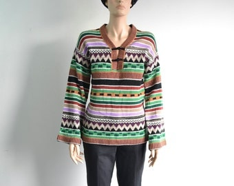 Vintage 70s Hippie Sweater Boho Pullover Sweater Bell Sleeve Tribal Toggle Pullover - small