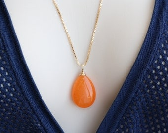 Orange Candy Jade Drop, Gold Necklace, Bright Colors, Fall Fashion, Gift for Wife, Modern Necklace, Fall Colors, Trending Now, Orange Drop