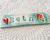 Clay Name Plate Magnet Custom Made Name Made to Order Clay Magnet Custom Clay Name Personalized Magnet