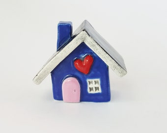 Little Clay House | Ceramic House | Miniature House | Whimsical house | Pink House | Fairy House Hearthome by Beth Macre