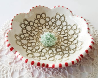 Scalloped Clay bowl   Red and White Bowl   Textured Clay bowl   Small Clay Bowl   Handbuilt bowl   Clay bowl   Jewelry Holder
