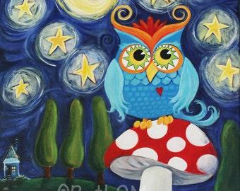 Owl Print | Whimsical Owl Print | Art Print | Woodland Owl | Woodland Art | Starry Night Owl | Whimsical Art Print | Night Owl
