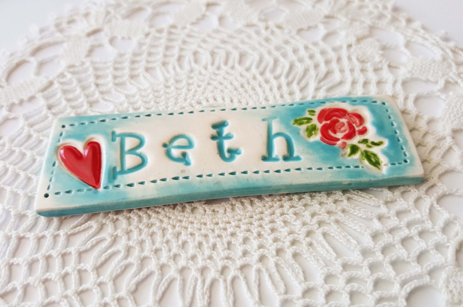 Ceramic Name Plate Magnet Custom Made Name Made by BethSMacre