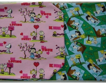 PEAUNTS AND SNOOPY Reversible Table Runner Valentines and St Patricks Themes