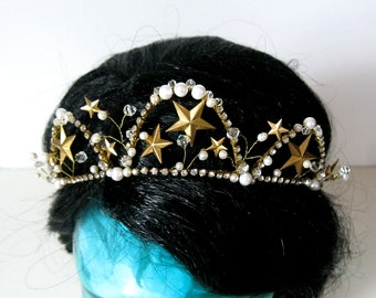 Star tiara crown halo bride brass gold pearl crystal