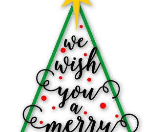 Merry Christmas SVG File / PDF / dxf / png / jpg / ai / eps Tree SVG, Tree Words svg for Cameo V2 V3 / Cricut and other Electronic Cutters
