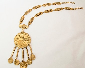 1980s Dramatic Couture  Ornate Ancient  Roman Greek Coin Vintage Statement Necklace