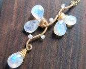 Rainbow Moonstone Necklace, June Birthstone Jewelry, Gold Vine Pendant